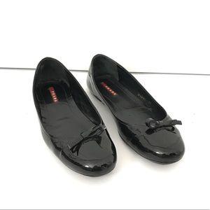 Prada Calzature Donna Black Patent Flats w/ Bow